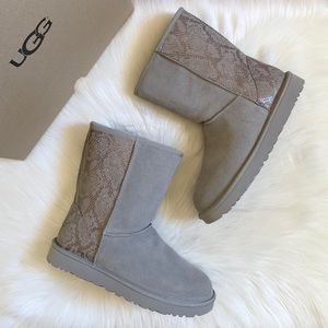 UGG Classic Short Metallic Snake Silver Boots